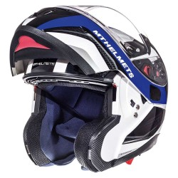 Casco flip up MT ATOM SV TARMAC Gloss Pearl White/Black/Blue