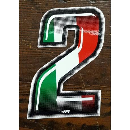 ADESIVO 4R NUMERO 2 SLIM BANDIERA ITALIANA