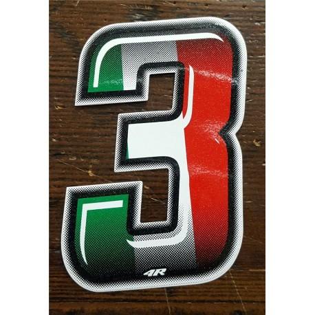 ADESIVO 4R NUMERO 3 SLIM BANDIERA ITALIANA