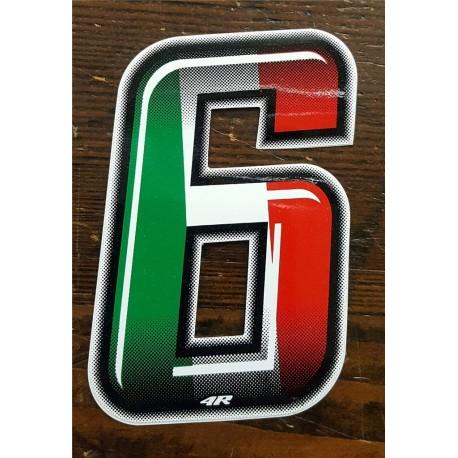 ADESIVO 4R NUMERO 6 SLIM Italian Flag