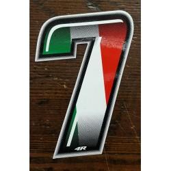 ADESIVO 4R NUMERO 7 SLIM tricolore italiano