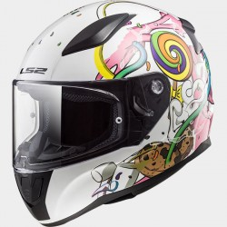Casco integrale bambino LS2 RAPID MINI FF353J CRAZY POP white pink