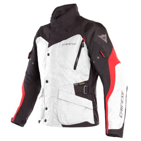 Giacca Dainese  TEMPEST 2 D-DRY JACKET D-DRY® Light-Gray/Black/Tour-Red