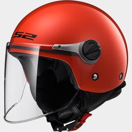 CASCO jet LS2 WUBY SOLID RED OF 575JUNIOR